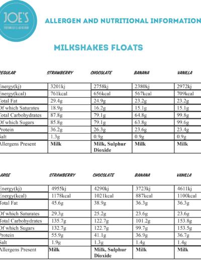 Milkshakes Floats